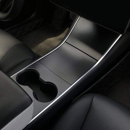 Tesla Model 3 Moulded Centre Console Covers Matte Carbon Fibre